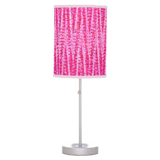 Satin Stripes and Dots Abstract, Fuchsia Pink Table Lamp