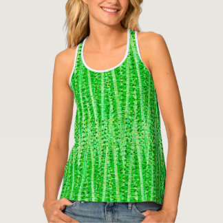 Satin Stripes and Dots Abstract, Lime Green Tank Top