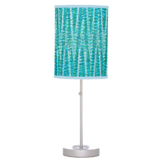 Satin Stripes and Dots Abstract, Turquoise & Aqua Table Lamp