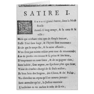 'Satires' by Nicolas Boileau Card