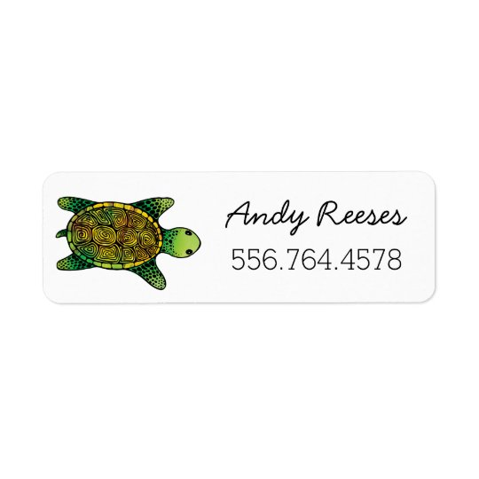 Saturated Green Watercolor Ink Drawn Turtle Return Address Label