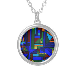 Saturday at the sailboat races silver plated necklace