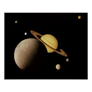 Saturn and her Moons Poster