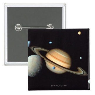 Saturn and satellites 2 inch square button