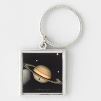 Saturn and satellites keychain