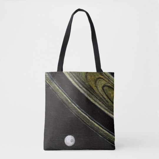 Saturn and Tethys double-sided tote bag