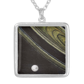 Saturn and Tethys silver-plated necklace