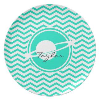 Saturn Aqua Green Chevron Party Plate