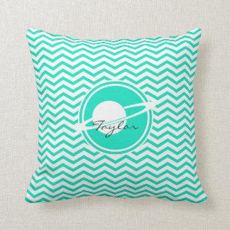 Saturn; Aqua Green Chevron Throw Pillow