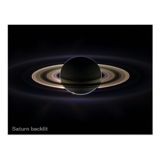 Saturn backlit postcard