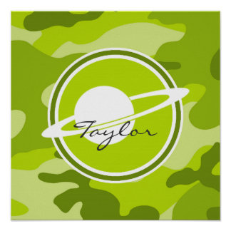 Saturn bright green camo camouflage posters
