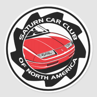 "Saturn Car Club of North America 3"" round sticker"