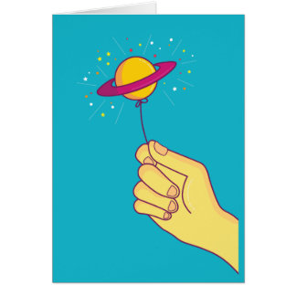 Saturn Lollipop Balloon Card