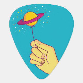Saturn Lollipop Balloon Guitar Pick