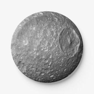 Saturn Moon Mimas Paper Plate