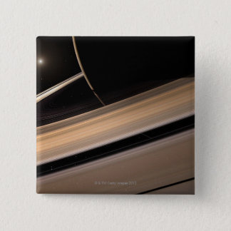 Saturn planet in solar system, close-up 3 2 inch square button