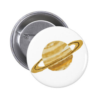 Saturn Planet Watercolor Round Button