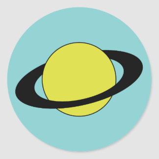 Saturn planet with ring icon round sticker