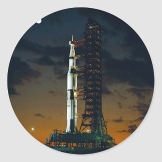 Saturn V Space Rocket Launch Classic Round Sticker