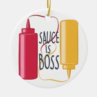 Sauce Is Boss Round Ceramic Ornament