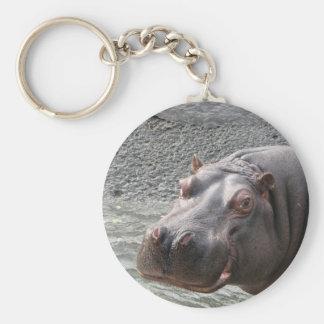 Saucy Hippo! Basic Round Button Keychain