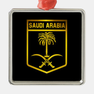 Saudi Arabia Emblem Silver-Colored Square Ornament