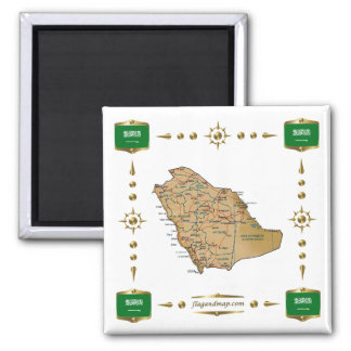 Saudi Arabia Map + Flags Magnet