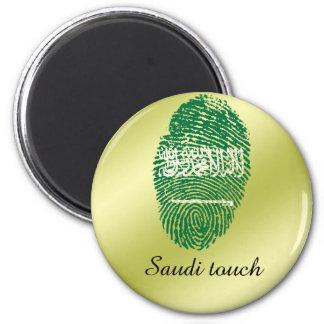 Saudi touch fingerprint flag 2 inch round magnet