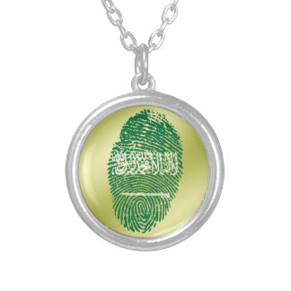 Saudi touch fingerprint flag silver plated necklace