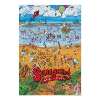 "Saugatuck Beach Poster (Small 13"" x 19"")"