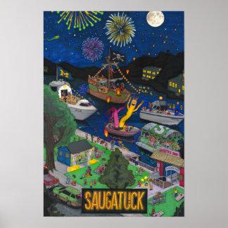 "Saugatuck Night Poster (Small 13"" x 19"")"