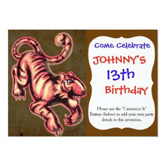 Saumon Brown de bande dessinée de peinture de bébé Carton D'invitation 12,7 Cm X 17,78 Cm