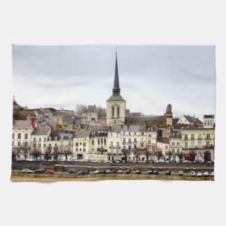 Saumur River Bank Scene Tea Towel