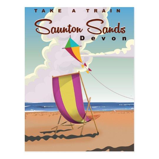 Saunton Sands Devon holiday travel poster Postcard