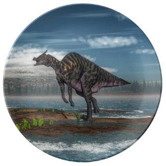 Saurolophus dinosaur - 3D render Porcelain Plate