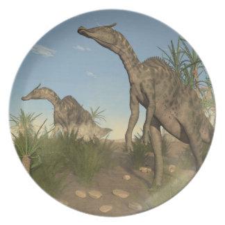 Saurolophus dinosaurs - 3D render Plate