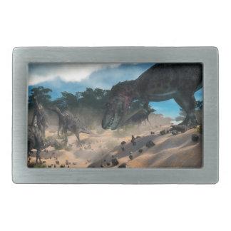Saurolophus hunting tarbosaurus dinosaur belt buckles