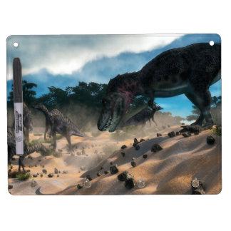 Saurolophus hunting tarbosaurus dinosaur dry erase board