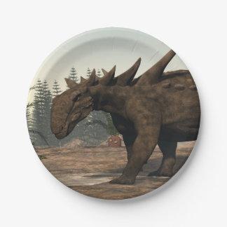 Sauropelta dinosaur - 3D render 7 Inch Paper Plate