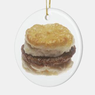 Sausage Biscuit Round Ceramic Ornament