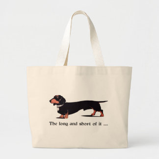Sausage Dog Dachshund Humor Hiking Duck Large Tote Bag