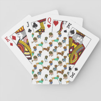Sausage dogs / dachshunds with jumpers poker deck