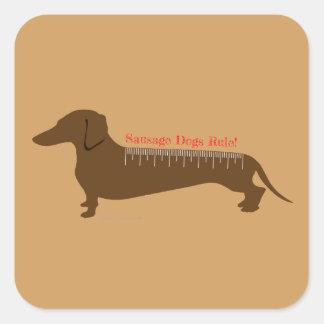 Sausage Dogs Rule Square Sticker