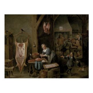 Sausage-making, 1651 postcard