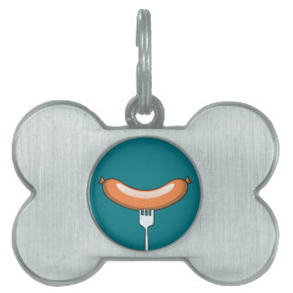 Sausage on a fork pet ID tag