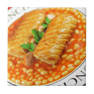 Sausage rolls and baked beans tile