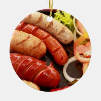 Sausages Round Ceramic Ornament