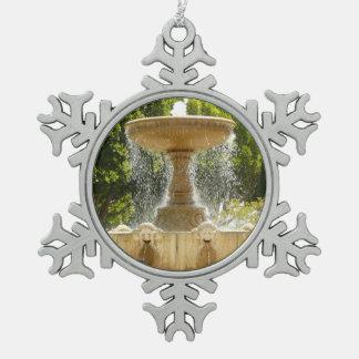 Sausalito Fountain California Travel Photography Snowflake Pewter Christmas Ornament