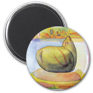 Sausalito sea lion 2 inch round magnet