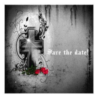 Sauvez l invitation gothique de croix et de roses
